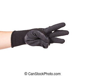 Black rubber protective glove Isolated on a white background...