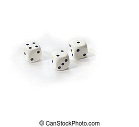 White six sided dices isolated on white - Collection of...