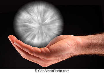White Ball of Light - A hand holding a white ball of light...