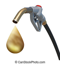 Golden drop weeping from the fuel nozzle