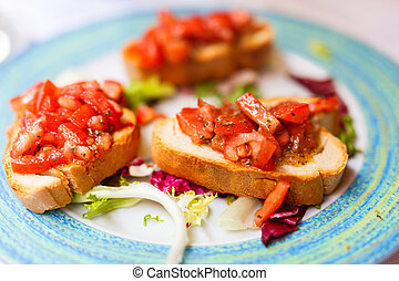 Bruschetta - Fresh homemade crispy Italian antipasto...