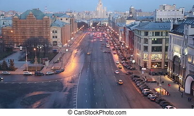 Night view of the Moscow, Russia - Night view of the Moscow...
