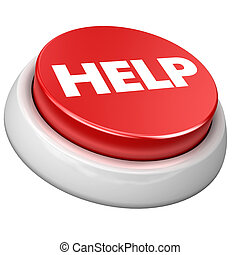 Button HELP - 3d image of button HELP. White background