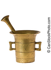 old mortar and pestle on white background