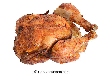 top view barbecue roast chicken