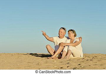 anciano, pareja, en, Un, playa,