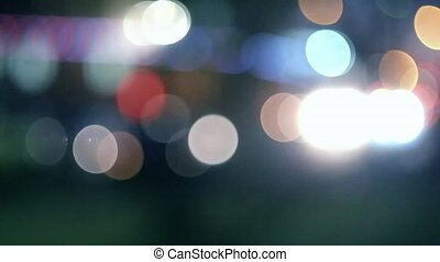 Defocus carlights in the night toned colorized footage -...