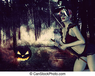 Witch in the Night Forest - Mysterious background with witch...