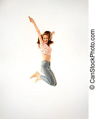 young girl with jeans - Cute young girl with jeans and pink...