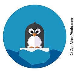 Illustration of Penguin on a ice floe - Vector Illustration...
