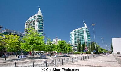 Modern buildings in Park of Nations in Lisbon, Portugal timelapse hyperlapse