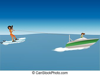 Woman Waterskiing - Cartoon of a woman Water skiing behind a...