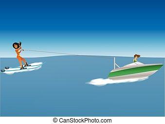 Woman Waterskiing - Cartoon of a woman Water skiing behind a...