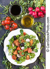 Chicken salad - Fresh salad with chicken meat from above in...