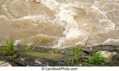 Tempestuous flow of the river after heavy rains.