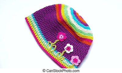 Girls Crochet hat - Multicolor girl's hat with flowers