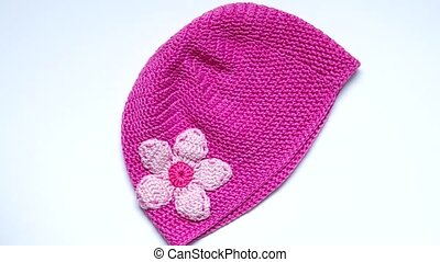 Girls Crochet hat - Pink crochet hat with flowers