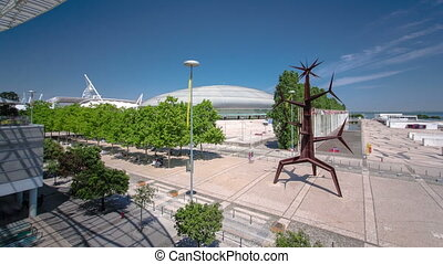 Modern Sculpture and Shopping Centre in Parque das Nacoes, Park of Nations, Lisbon, Portugal timelapse