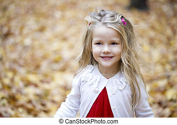 Portrait of a pretty liitle girl - Portrait of beautiful...