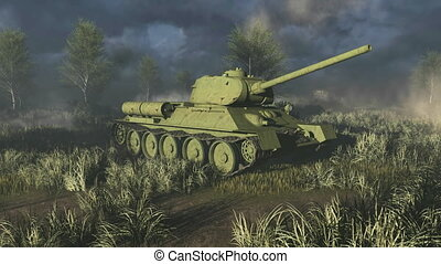 Tank T 34 take aim at the camera - T 34 - Russian main...