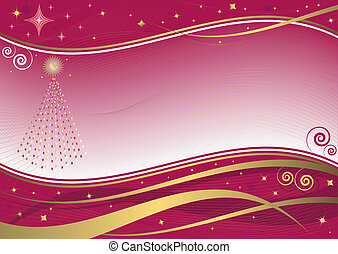 Christmas decorative background (vector) - Red and golden...
