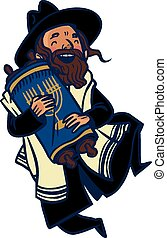 Funny cartoon jewish man dancing with Torah Vector...