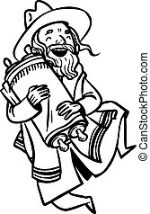 Funny cartoon jewish man dancing with Torah. Vector...