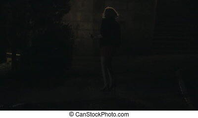 Frightened girl in park at night, street light goes out -...
