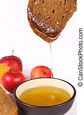 miel,  bread, manzanas