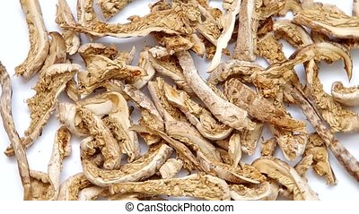 Dried mushrooms, The Parasol Mushroom Macrolepiota procera...