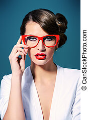 eyewear - Close-up portrait of a gorgeous young woman...