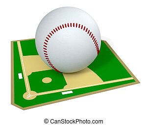 baseball field with a big ball, on white background 3d...