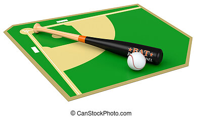baseball field with bat and ball, on white background 3d...