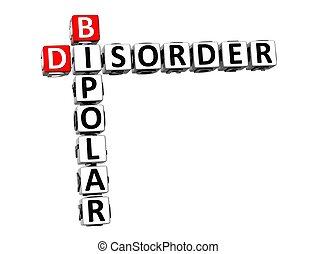 3D, crucigrama, bipolar, desorden, encima, blanco, fondo.,