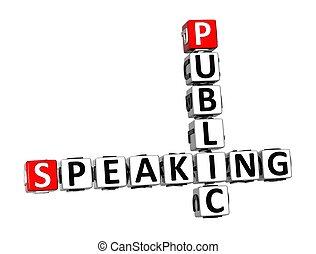 3D Crossword Public Speaking over white background
