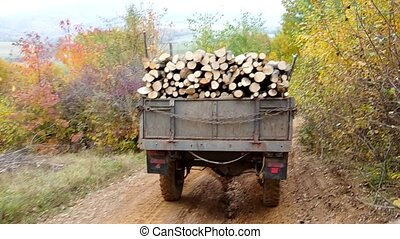 Tractor loaded with firewood is on a dirt road