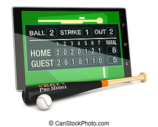 baseball and new communication technology - tablet pc with...