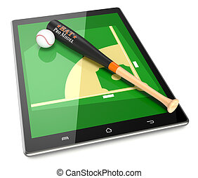 baseball and new communication technology - smartphone with...