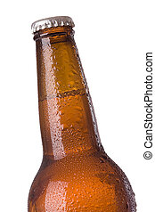 closeup of beer bottle - closeup of brown beer bottle