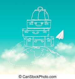 Vector illustration of flying air plane around travel...