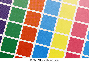 Close-up of cmyk test print from above - Close-up of a a...