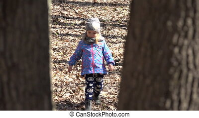 Cute Girl Run in the Forest with Mother