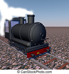 Steam train walking over rails, 3d render, square image