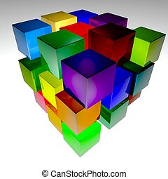 Cubes multicolor over white background, 3d render, square...