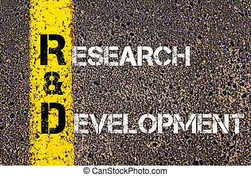 Business Acronym RD as Research and Development Yellow paint...
