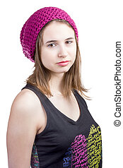 Portrait of girl in crimson hat and T-shirt