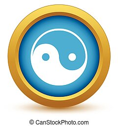 Gold Taoism icon on a white background Vector illustration