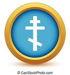 Gold orthodoxy icon on a white background. Vector...