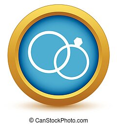 Gold wedding rings icon