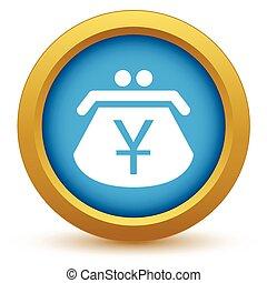 Gold yen purse icon